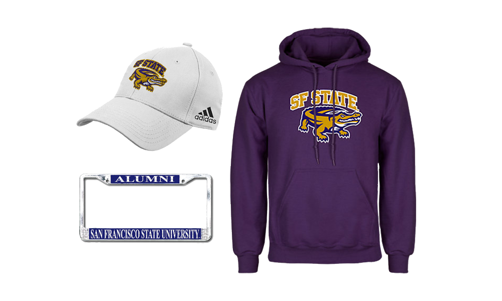 SF State branded hat, license plate and purple hoodie
